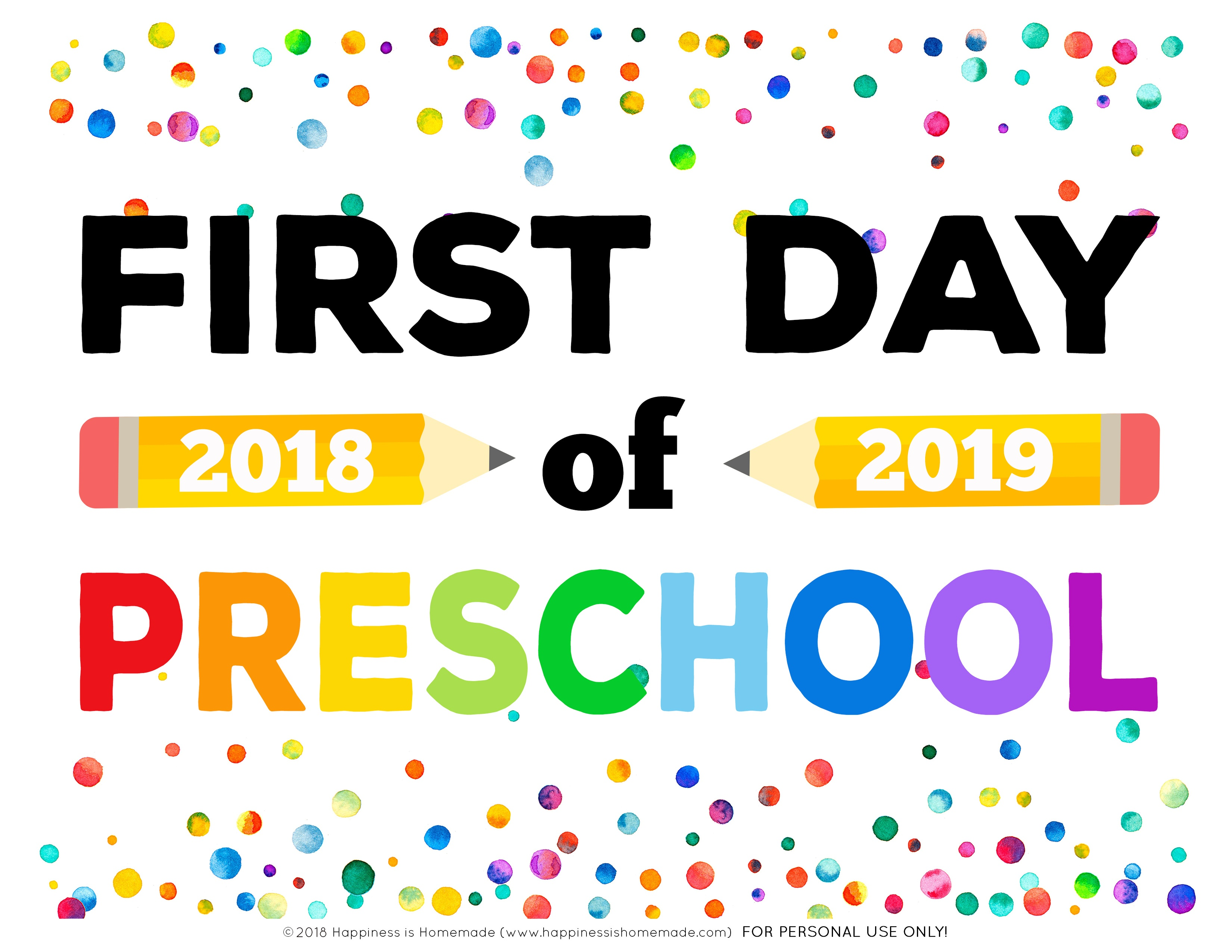 First Day Of School Signs - Free Printables - Happiness Is Homemade - First Day Of Kindergarten Sign Free Printable