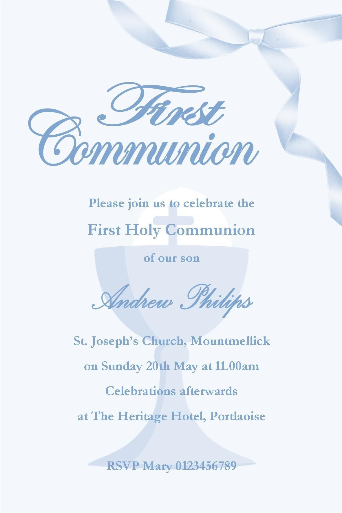 First Holy Communion Invitations For Boys - Anarchistshemale - Free Printable 1St Communion Invitations