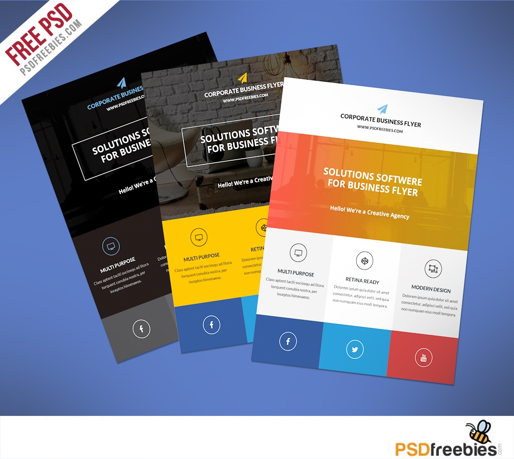 Flat Clean Corporate Business Flyer Free Psd | Psdfreebies - Business Flyer Templates Free Printable