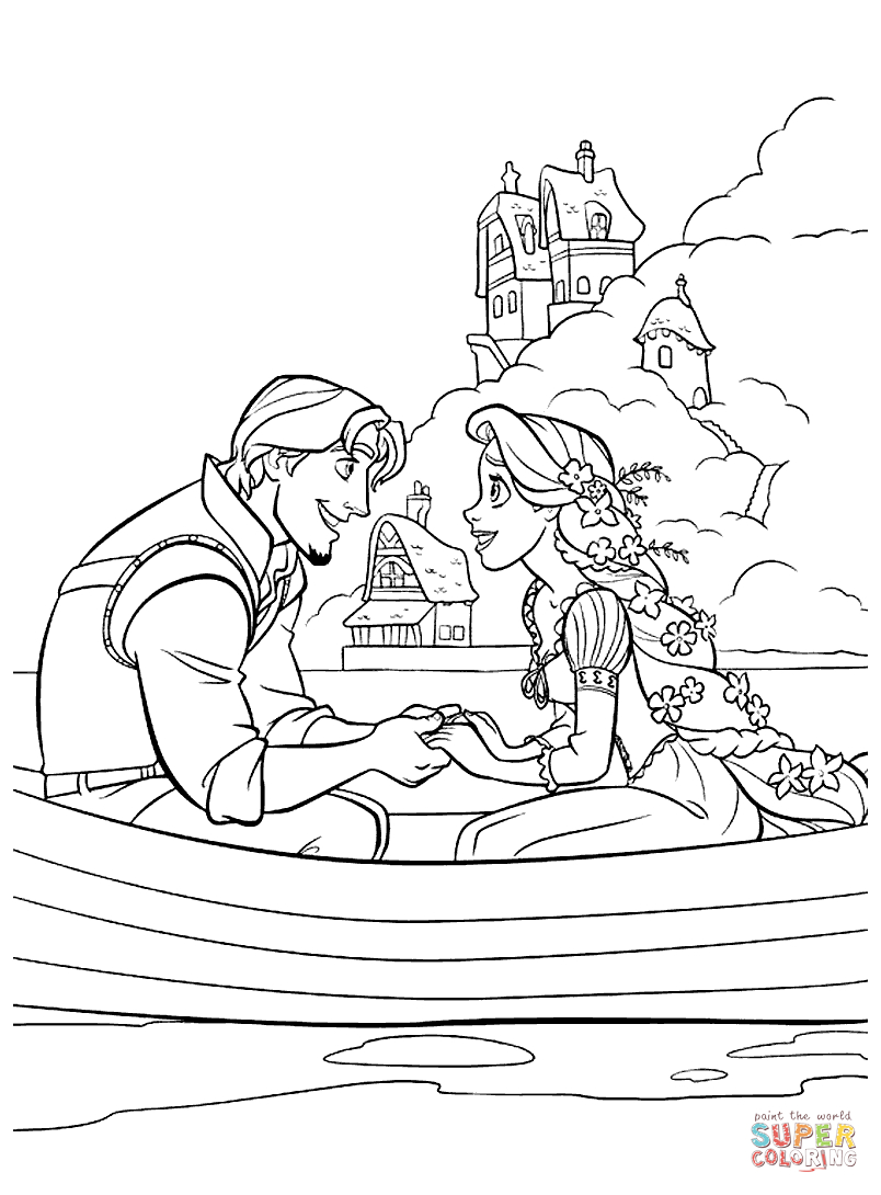 Flynn Rider And Rapunzel Coloring Page   Free Printable Coloring Pages - Free Printable Tangled
