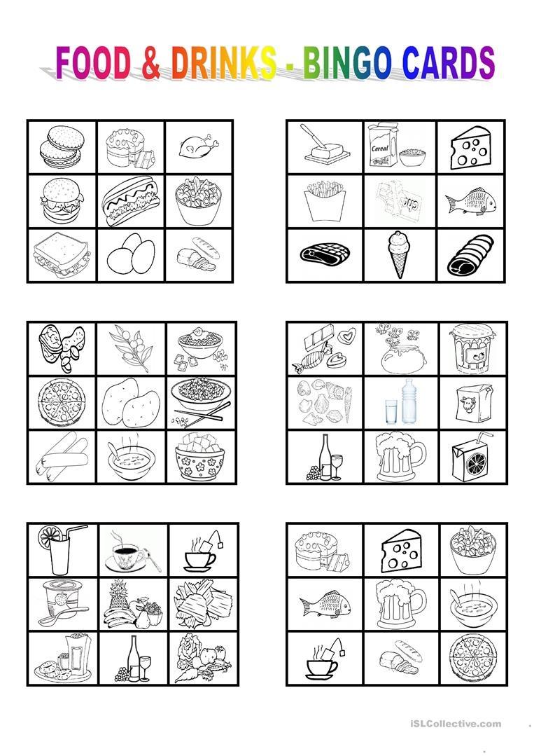 Food And Drinks - Bingo Cards Worksheet - Free Esl Printable - Free Printable Spanish Bingo Cards