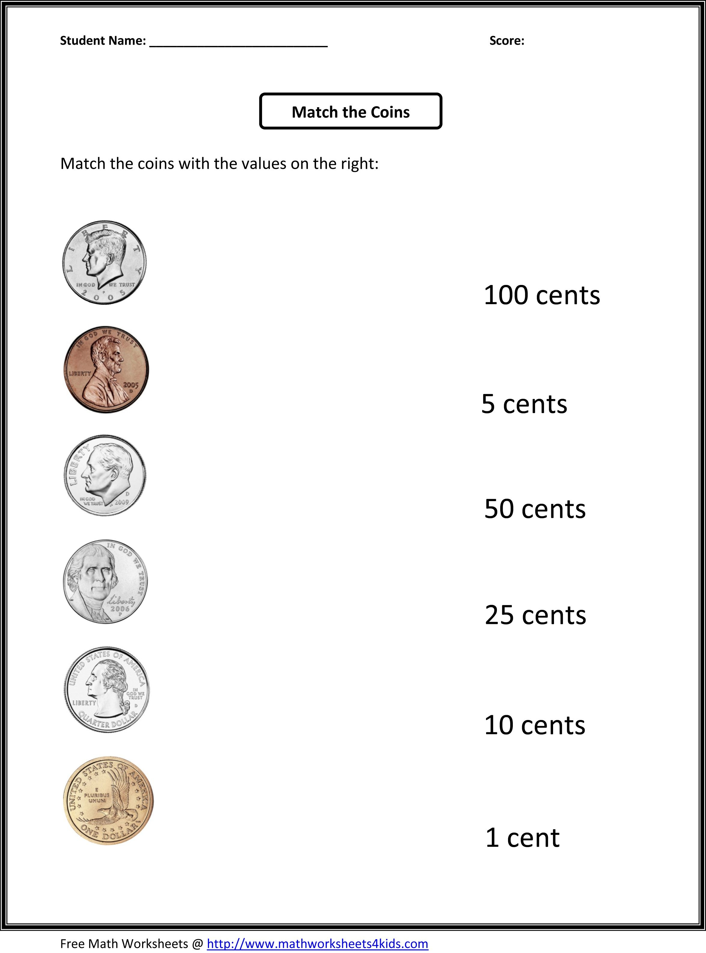 Free 1St Grade Worksheets   Match The Coins And Its Values - Free Printable Money Worksheets For Kindergarten