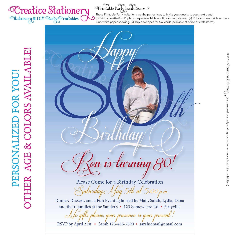 Free 80Th Birthday Invitations Templates   Free Printable - Printable Invitation Templates Free Download