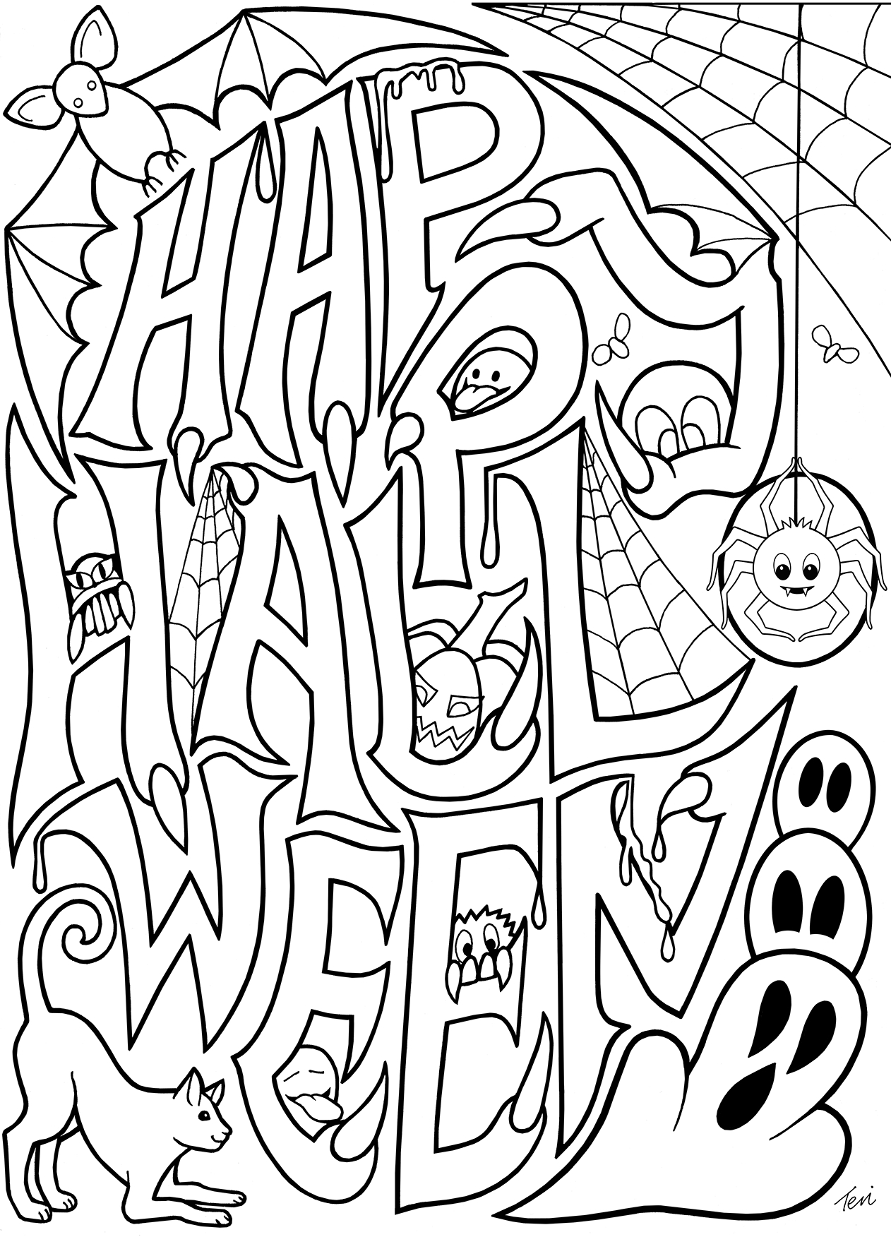 Free Adult Coloring Book Pages #happy #halloweenblue Star - Printable Halloween Cards To Color For Free