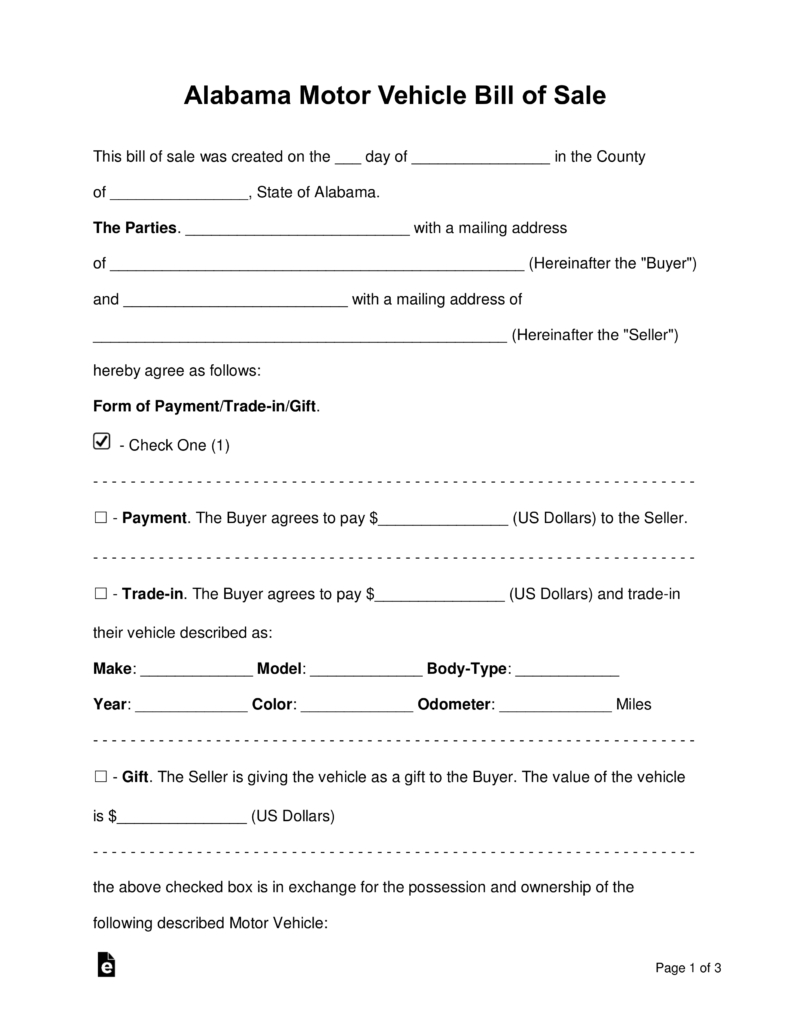 Free Alabama Motor Vehicle Bill Of Sale Form - Word   Pdf   Eforms - Free Printable Automobile Bill Of Sale Template