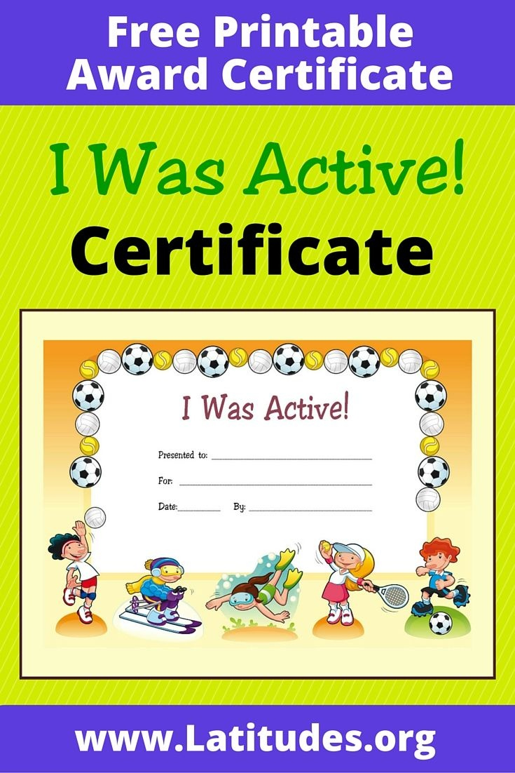 Free Award Certificate - I Was Active (Primary | Managing Recess - Free Printable Swimming Certificates For Kids