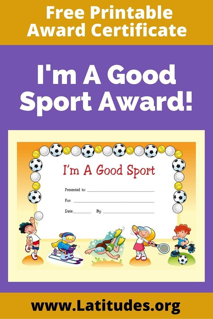 Free Award Certificate - I'm A Good Sport (Primary   Rewarding Good - Good Behaviour Certificates Free Printable