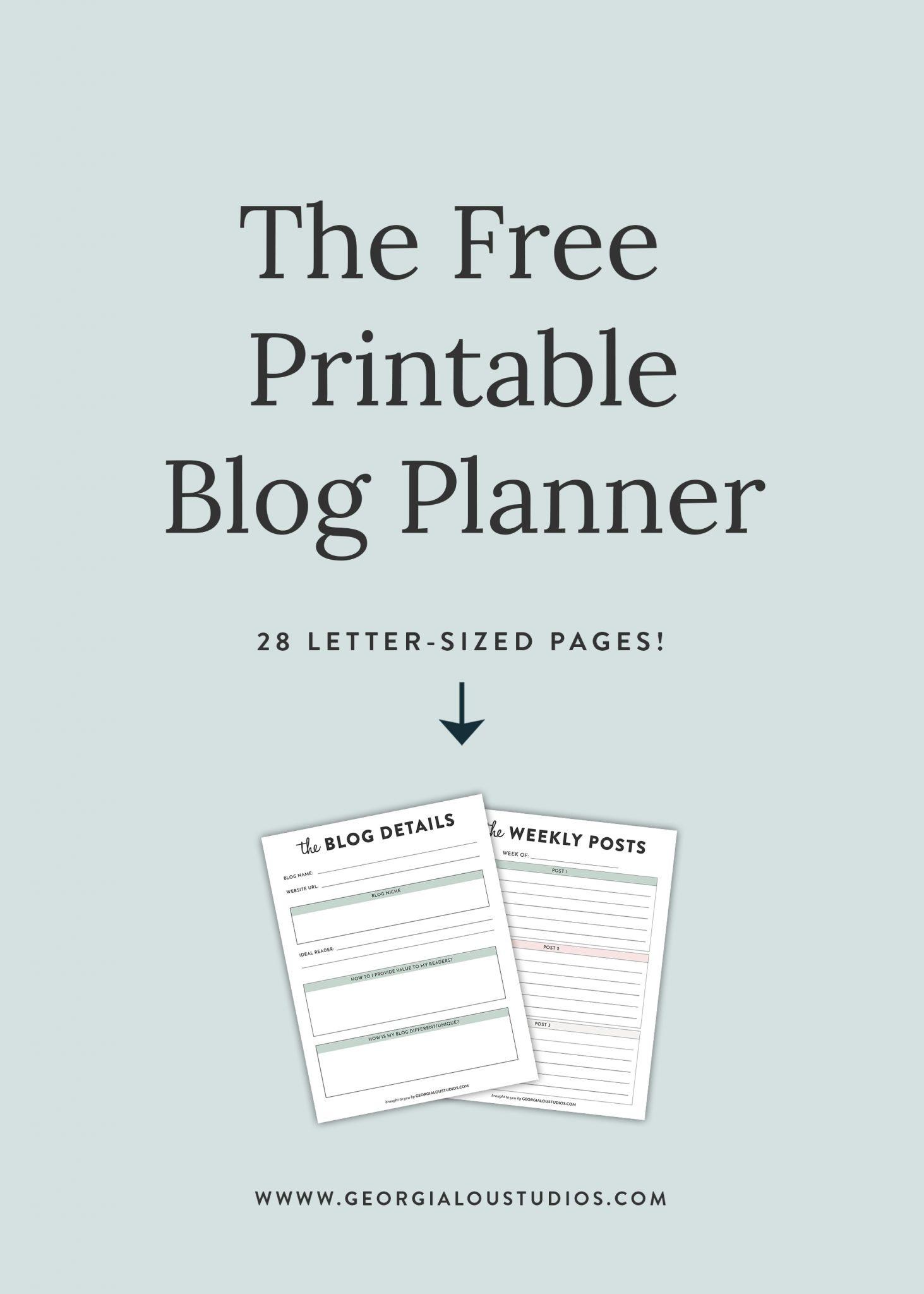 Free Blog Planner, Printable Pdf | Georgia Lou Studios - Free Printable Pictures