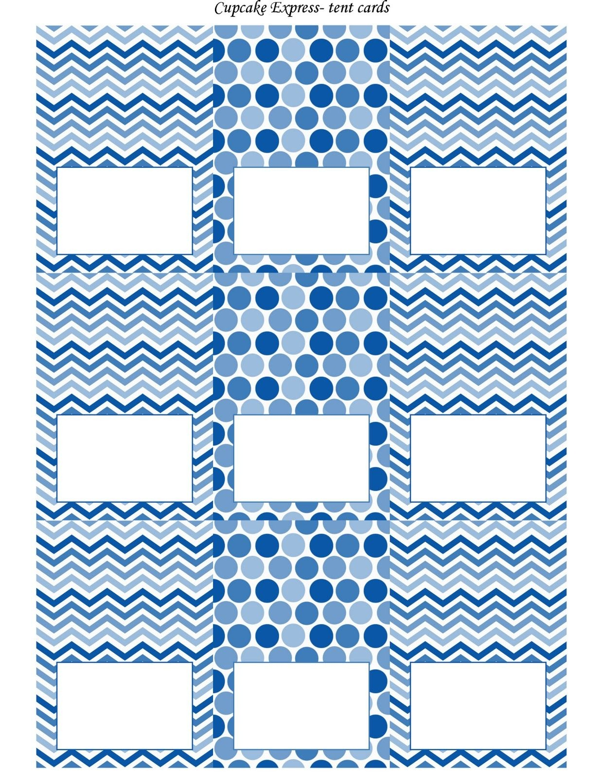 Free Blue And White Printable Tent Cards | Free Printables | Party - Free Printable Tent Cards Templates