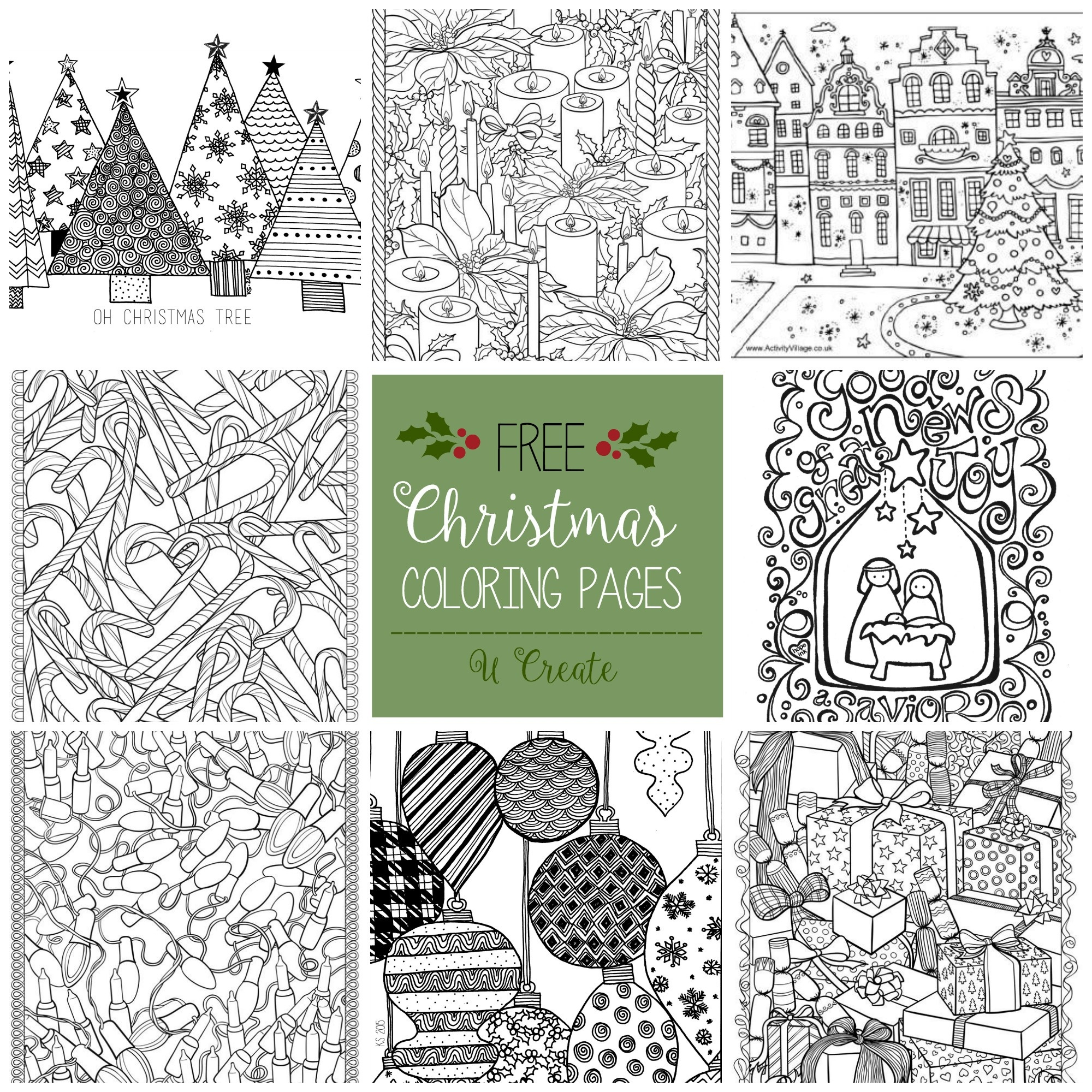 Free Christmas Adult Coloring Pages - U Create - Free Printable Christmas Coloring Pages