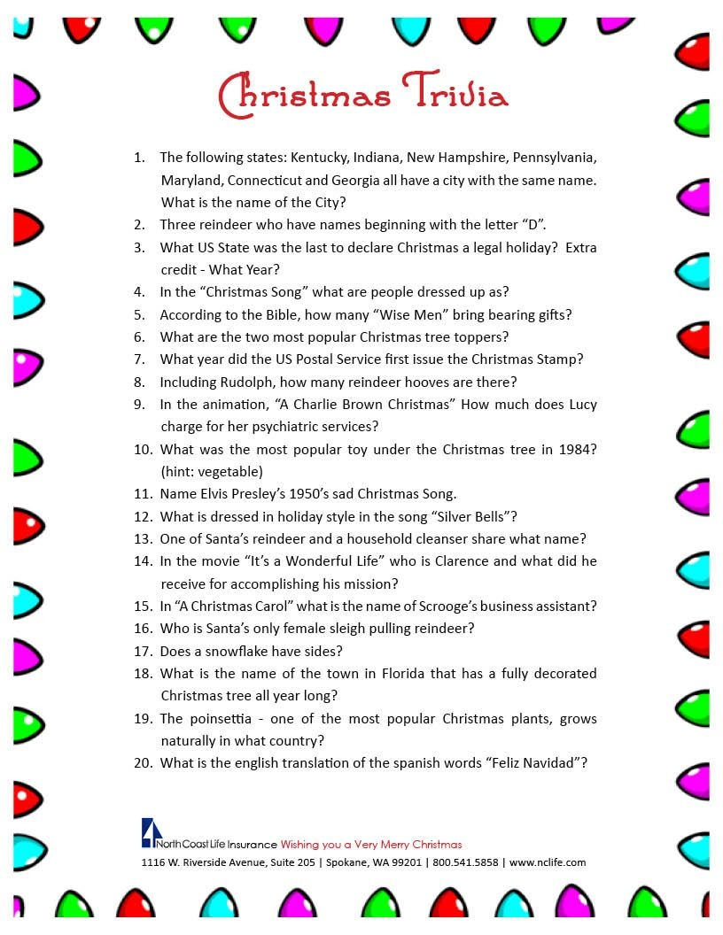 Free Christmas Bingo Free Printable - Google Search | Christmas - Free Printable Trivia Questions For Seniors