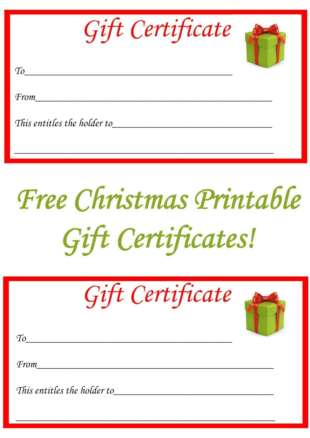 Free Christmas Printable Gift Certificates   Gift Ideas   Christmas - Free Printable Gift Certificate Templates For Massage