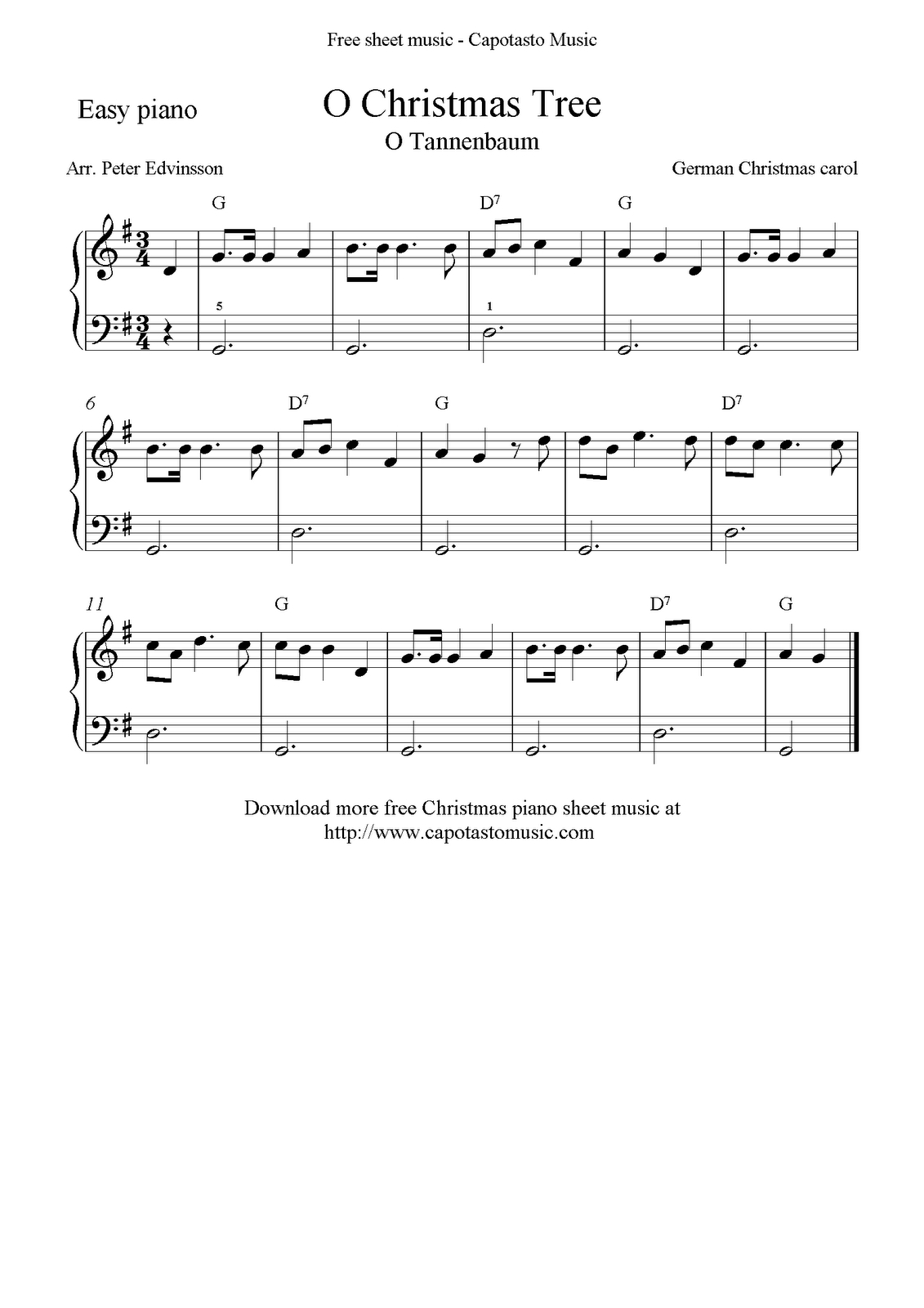Free Christmas Sheet Music For Easy Piano Solo, O Christmas Tree - Christmas Music For Piano Free Printable