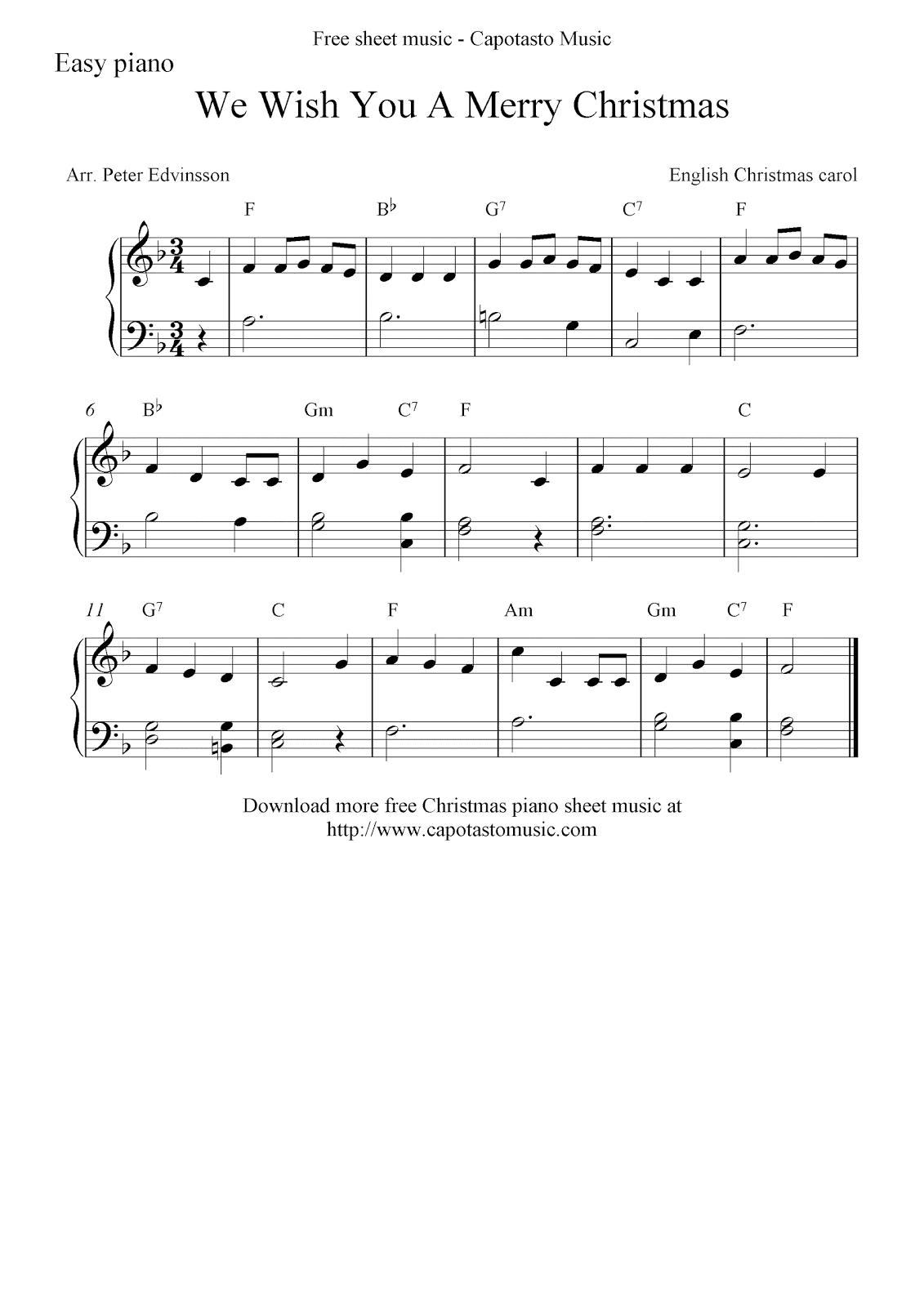 Free Christmas Sheet Music For Easy Piano, We Wish You A Merry Christmas - Christmas Piano Sheet Music Easy Free Printable