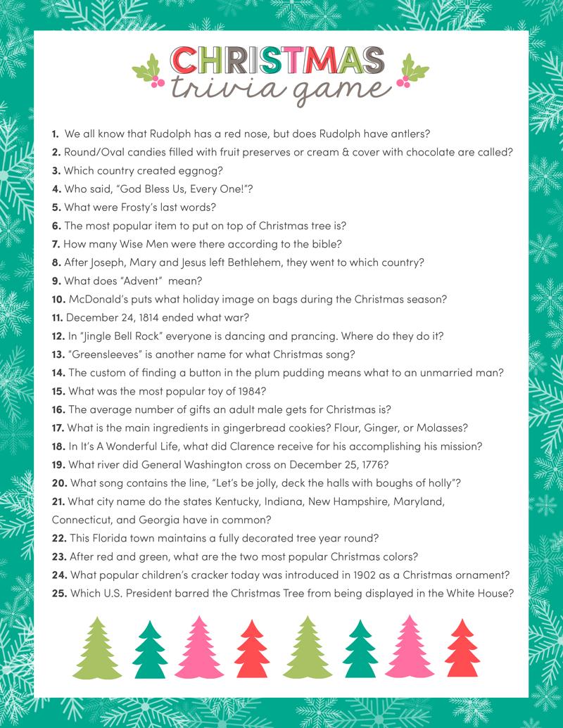 Free Christmas Trivia Game | Lil' Luna - Free Printable Trivia Questions For Seniors