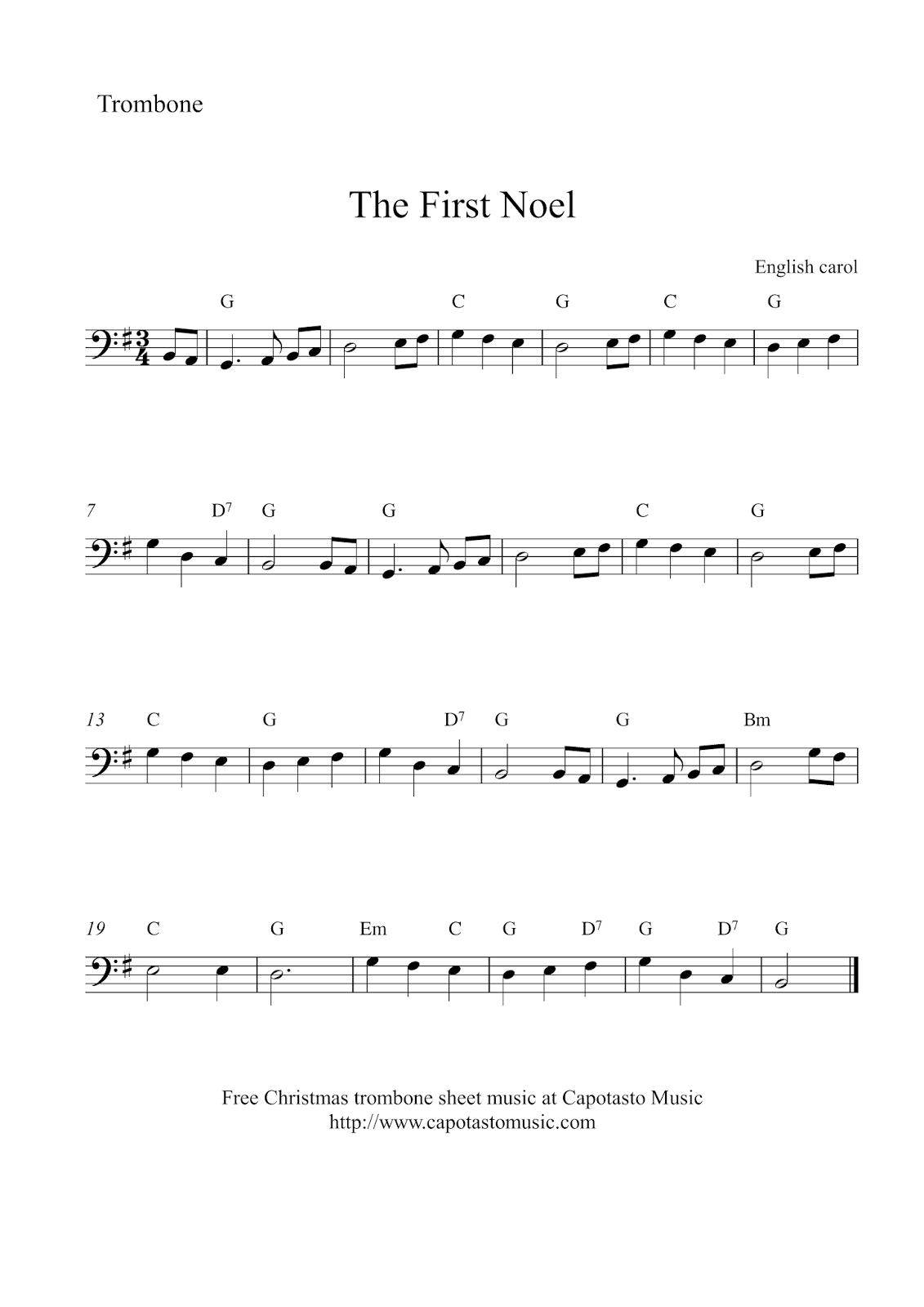 Free Christmas Trombone Sheet Music - The First Noel - Trombone Christmas Sheet Music Free Printable
