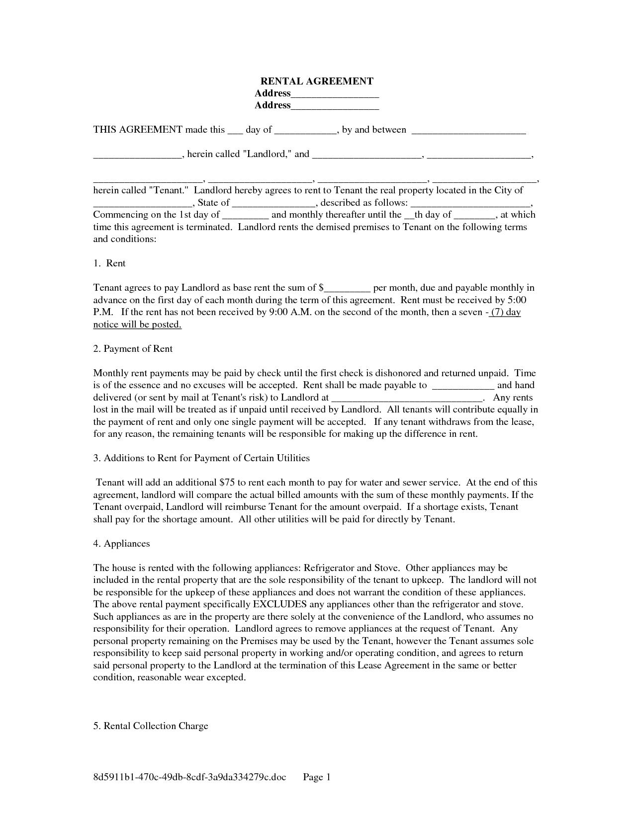 Free Copy Rental Lease Agreement | Free Rental Lease Agreement Forms - Free Printable Rental Lease Agreement