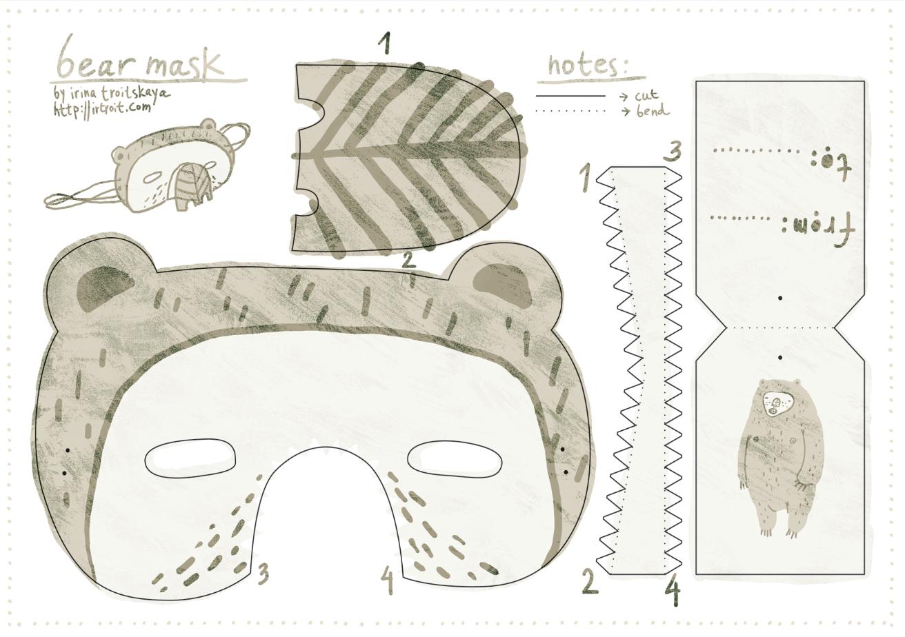 Free Download Bear Mask | Printable Masks For Kids | Bear Mask - Free Printable Bear Mask