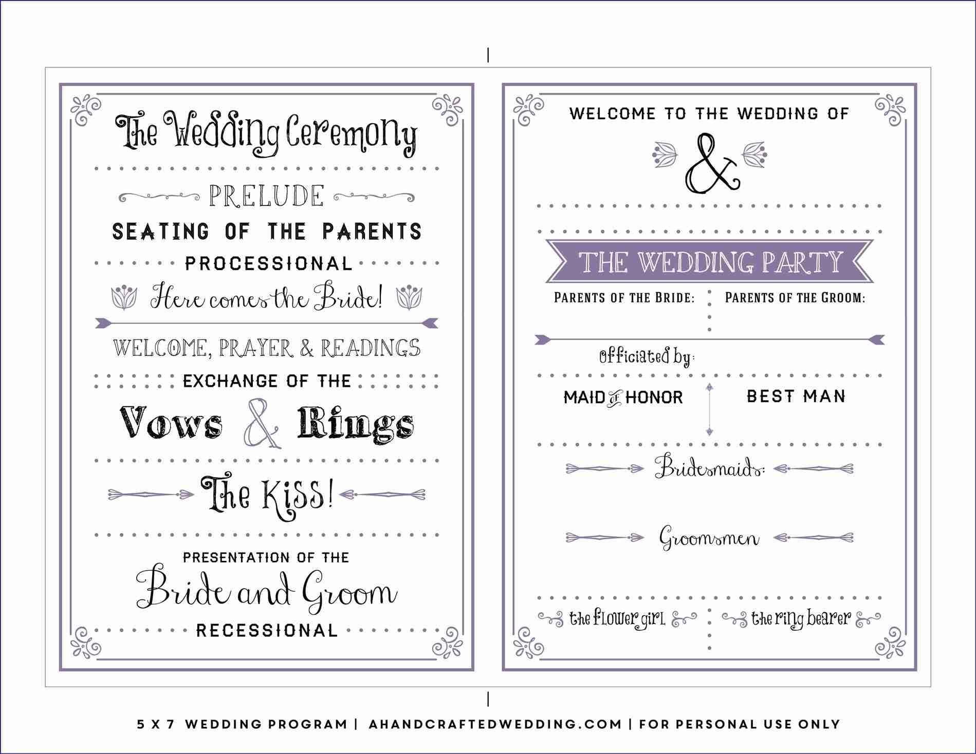 Free Downloadable Wedding Program Template That Can Be Printed - Free Printable Fan Wedding Programs
