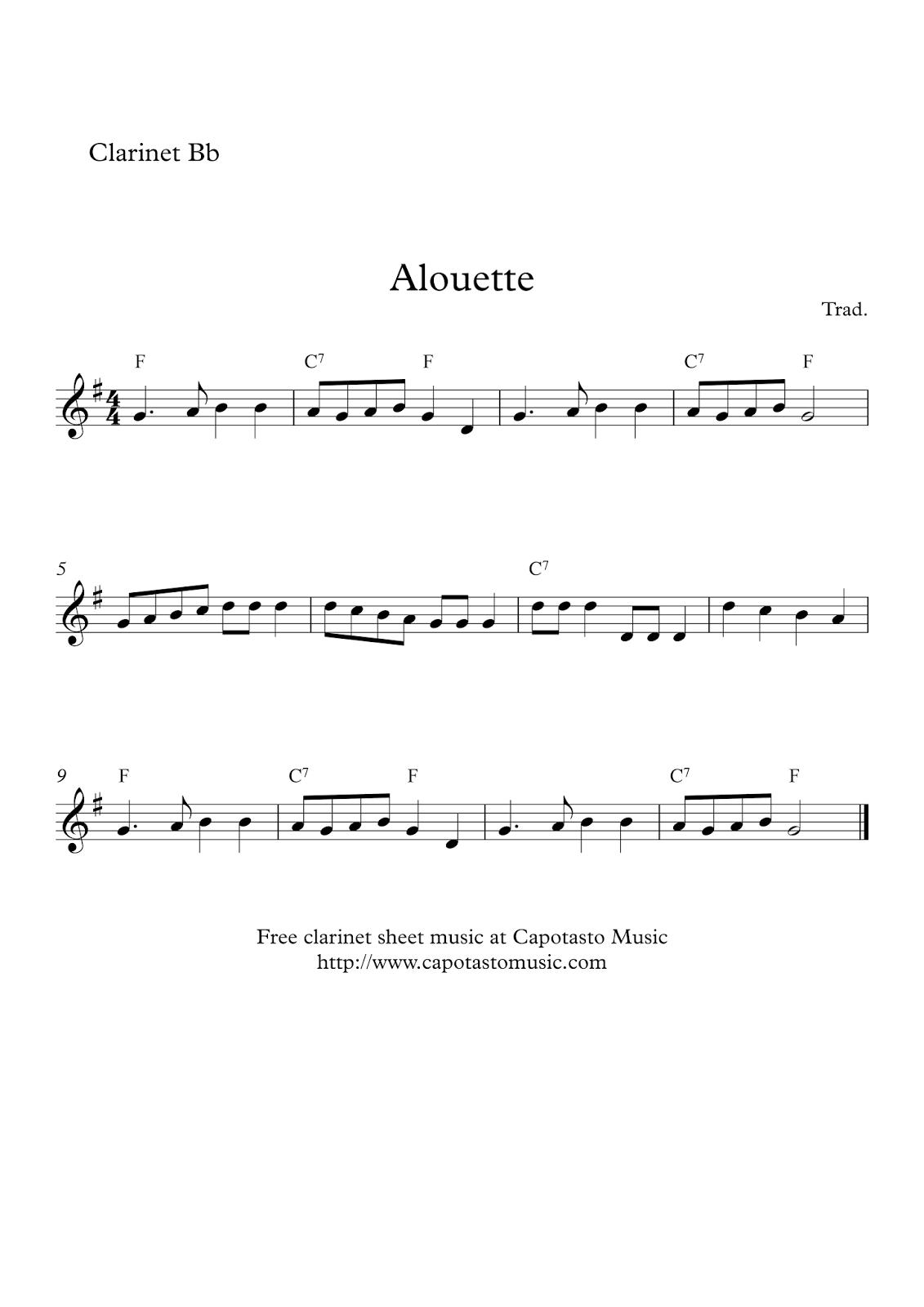 Free Easy Clarinet Sheet Music | Alouette - Free Printable Clarinet Music