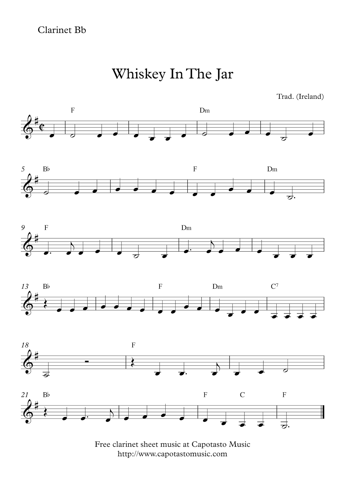 Free Easy Clarinet Sheet Music | Whiskey In The Jar - Free Printable Clarinet Sheet Music