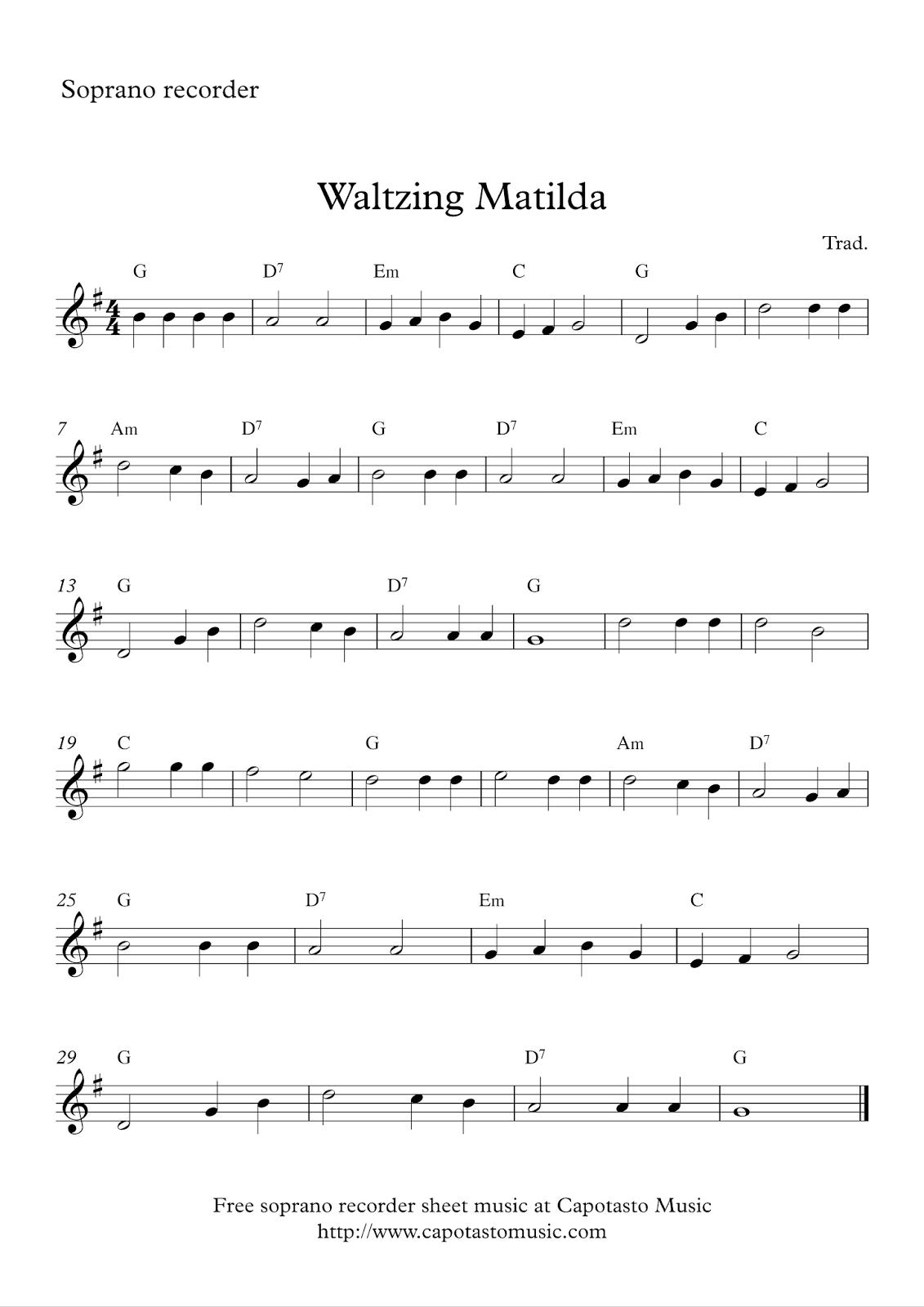 Free Easy Soprano Recorder Sheet Music, Waltzing Matilda - Free Printable Recorder Sheet Music For Beginners