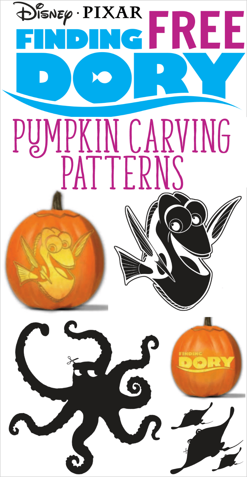 Free Finding Dory Pumpkin Carving Patterns To Print! | All Things - Free Pumpkin Carving Patterns Disney Printable