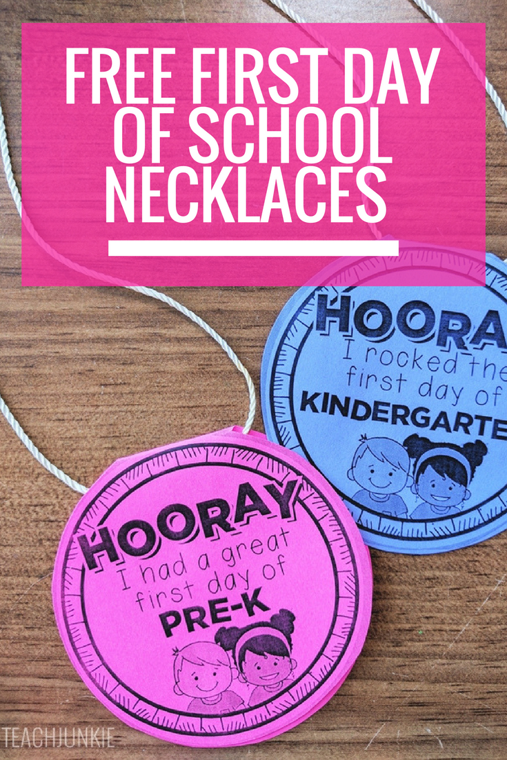 Free First Day Of School Necklaces (Editable)   Beginning Of Year - Free Printable First Day Of School Certificate