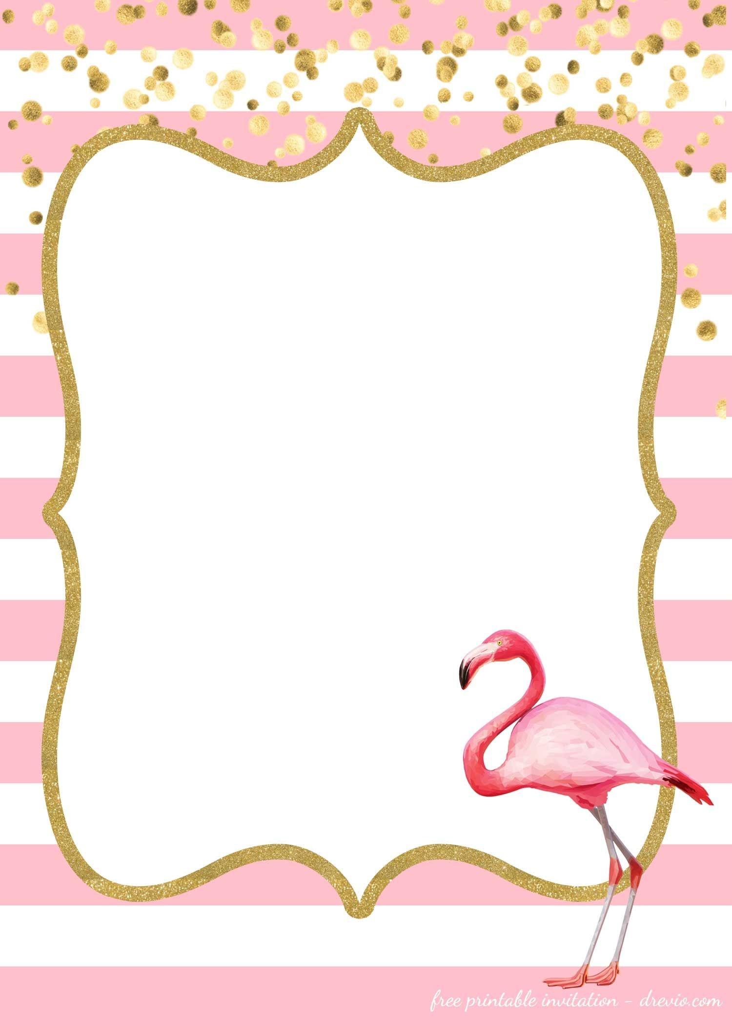 Free Flamingo Invitations Templates - Downloadable   Free Printable - Printable Invitation Templates Free Download