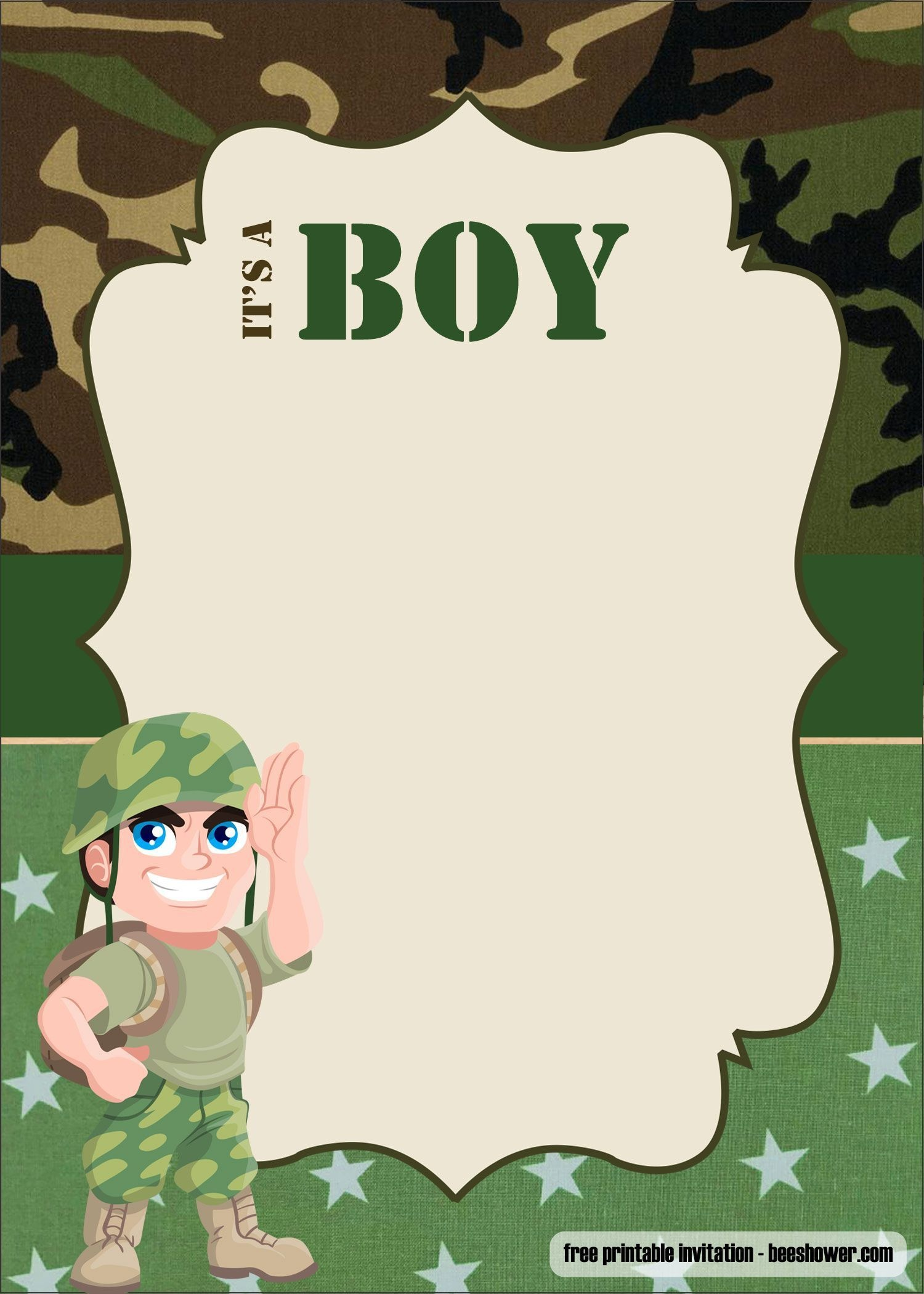 Free Free Camouflage Baby Shower Invitations Templates | Beeshower - Free Printable Camouflage Invitations