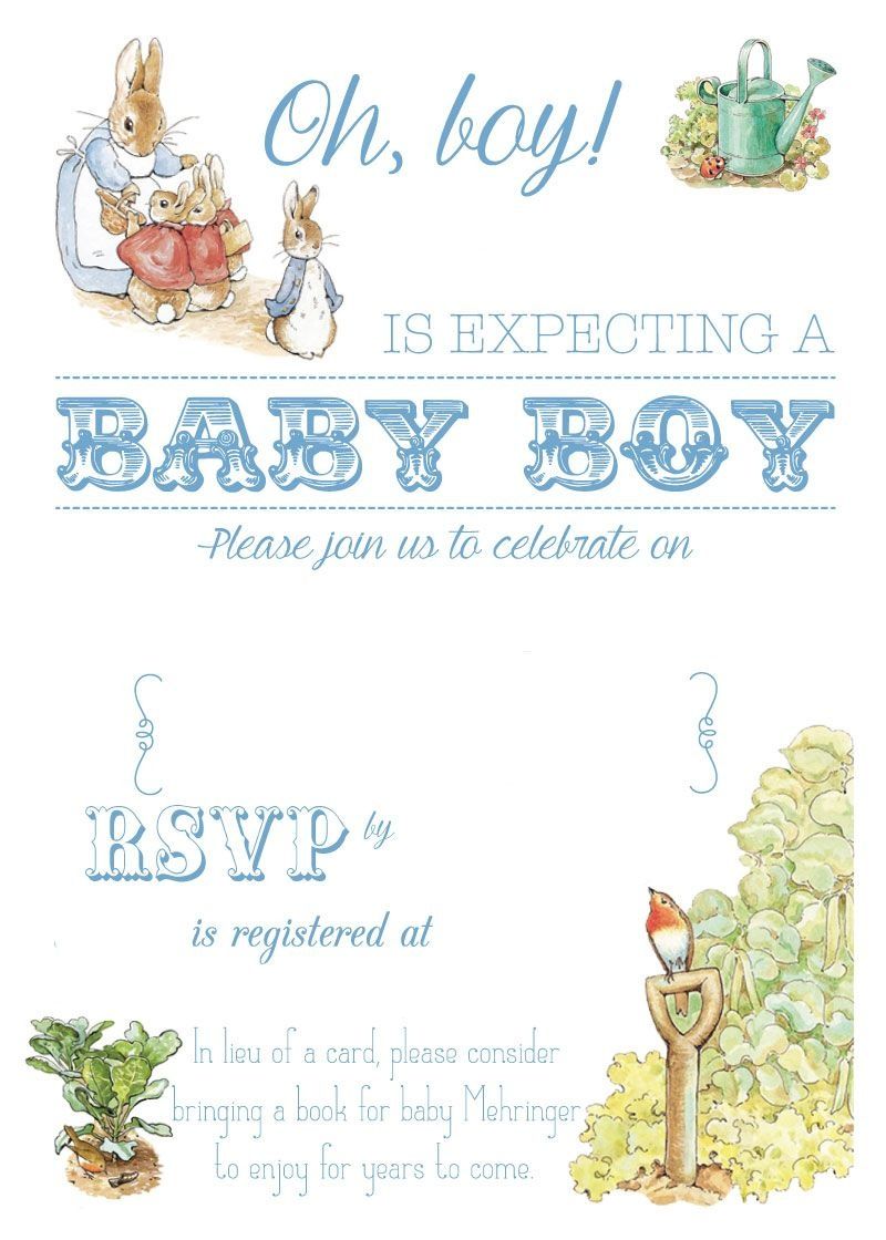 Free Free Printable Peter Rabbit Baby Shower Invitation | Free Baby - Free Printable Baby Registry Cards