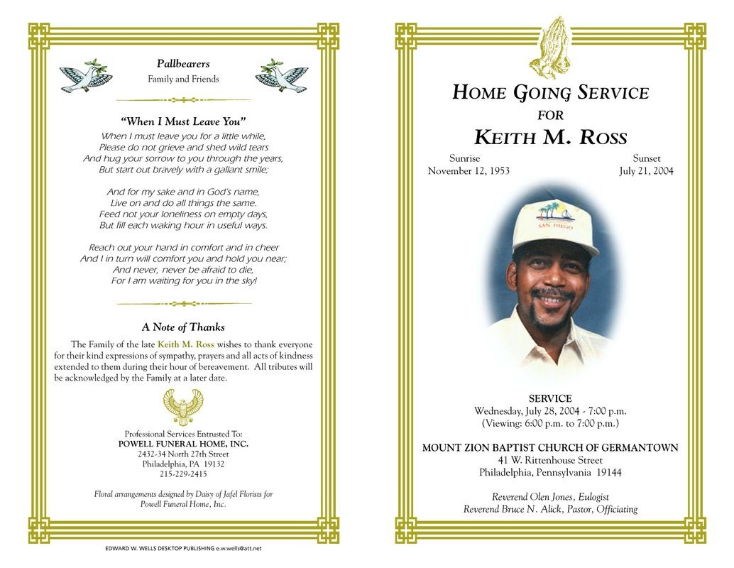 Free Funeral Program Templates | Funeral Program Sample Order Of - Free Printable Funeral Program Template