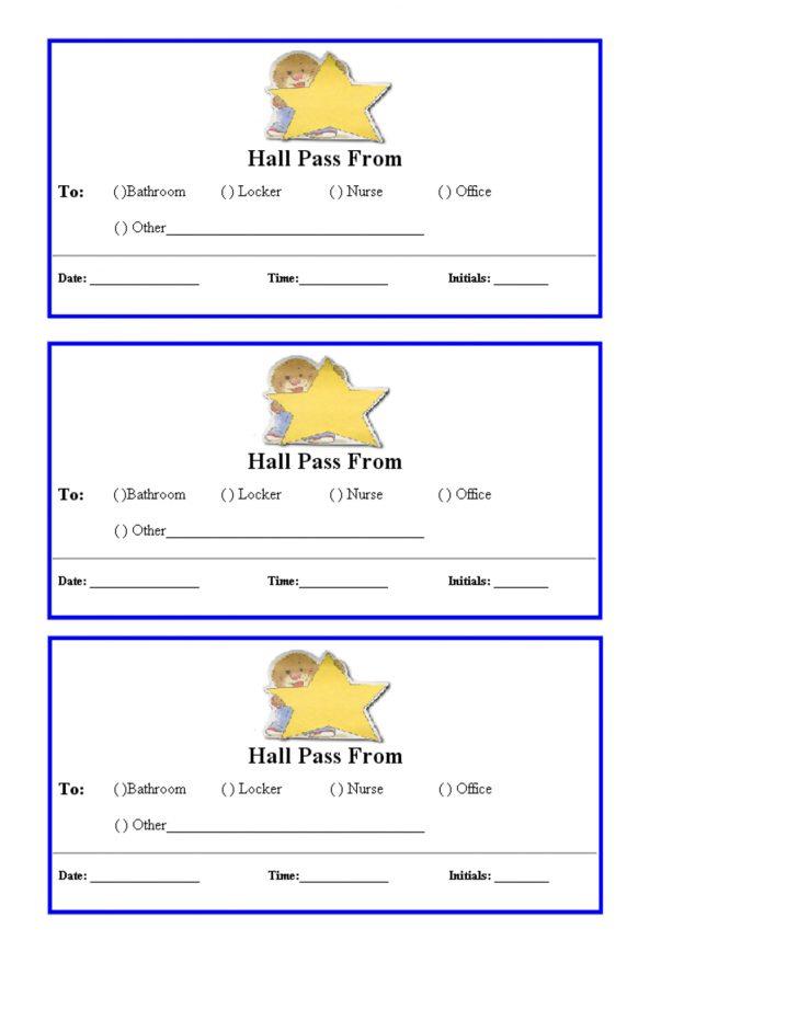 Free Printable Hall Pass Template