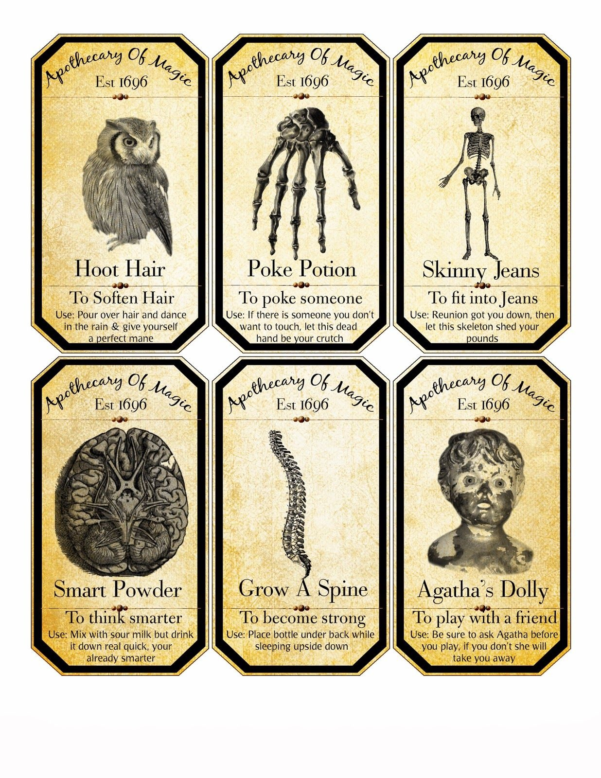 Free Halloween Digital Collage Sheet Apothecary Labels   Halloween - Free Printable Halloween Bottle Labels