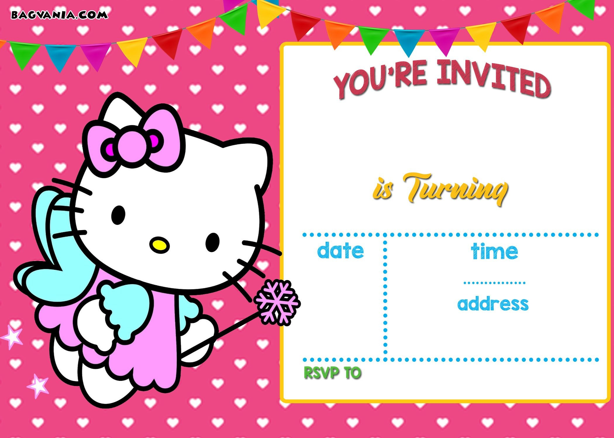 Free Hello Kitty Invitation Templates   Free Printable Birthday - Printable Invitation Templates Free Download