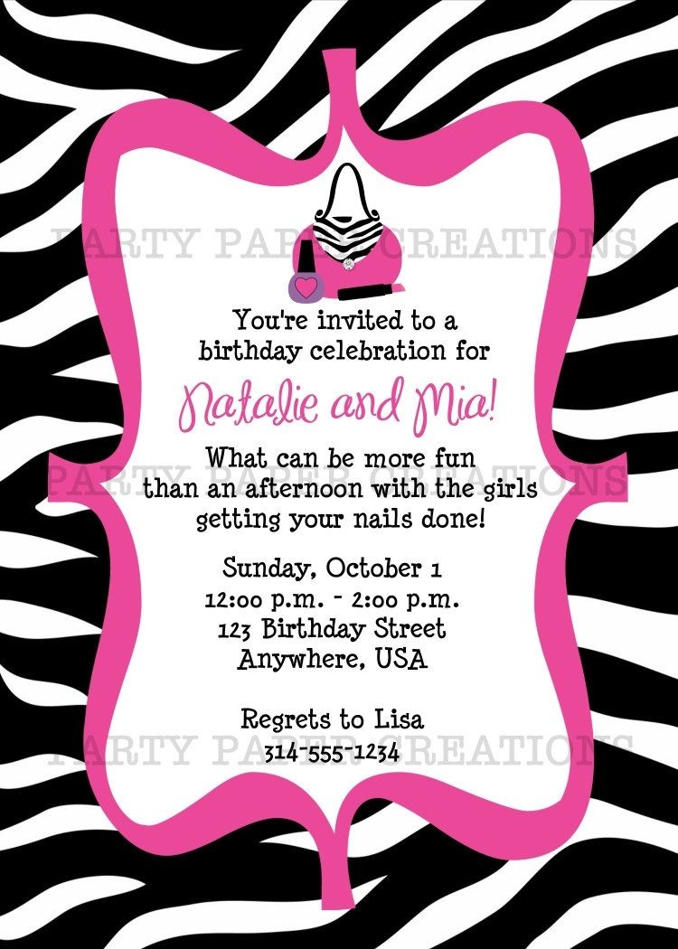 Free Invitations To Print |  Birthday Invitation - Glamour Girl - Free Printable Animal Print Birthday Invitations
