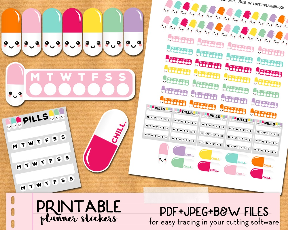 Free Kawaii Pills Planner Stickers - Printable And Cut Files - Free Printable Kawaii Stickers
