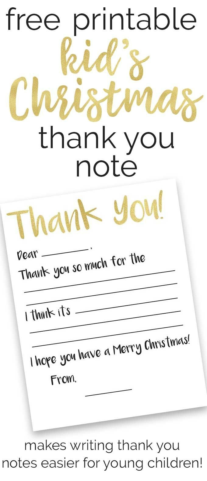 Free Kid's Thank You Note Printables | Christmas | Thank You Cards - Free Printable Volunteer Thank You Cards