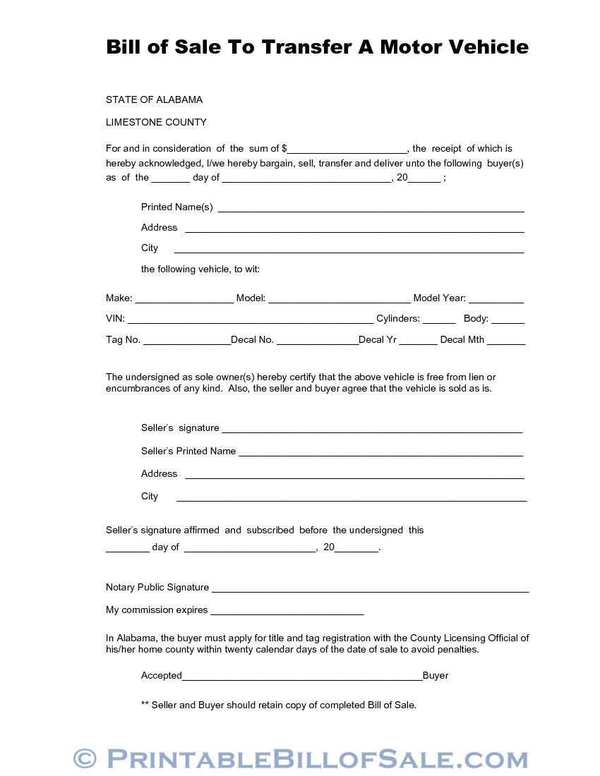 Free Limestone County Alabama Vehicle Bill Of Sale Form | Download - Free Printable Vehicle Bill Of Sale