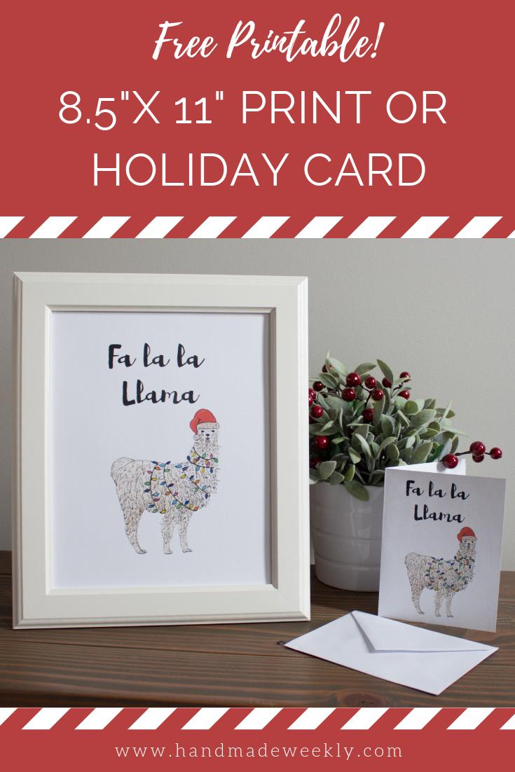 Free Llama Christmas Card And Art Print - Handmade Weekly - Christmas Cards Download Free Printable