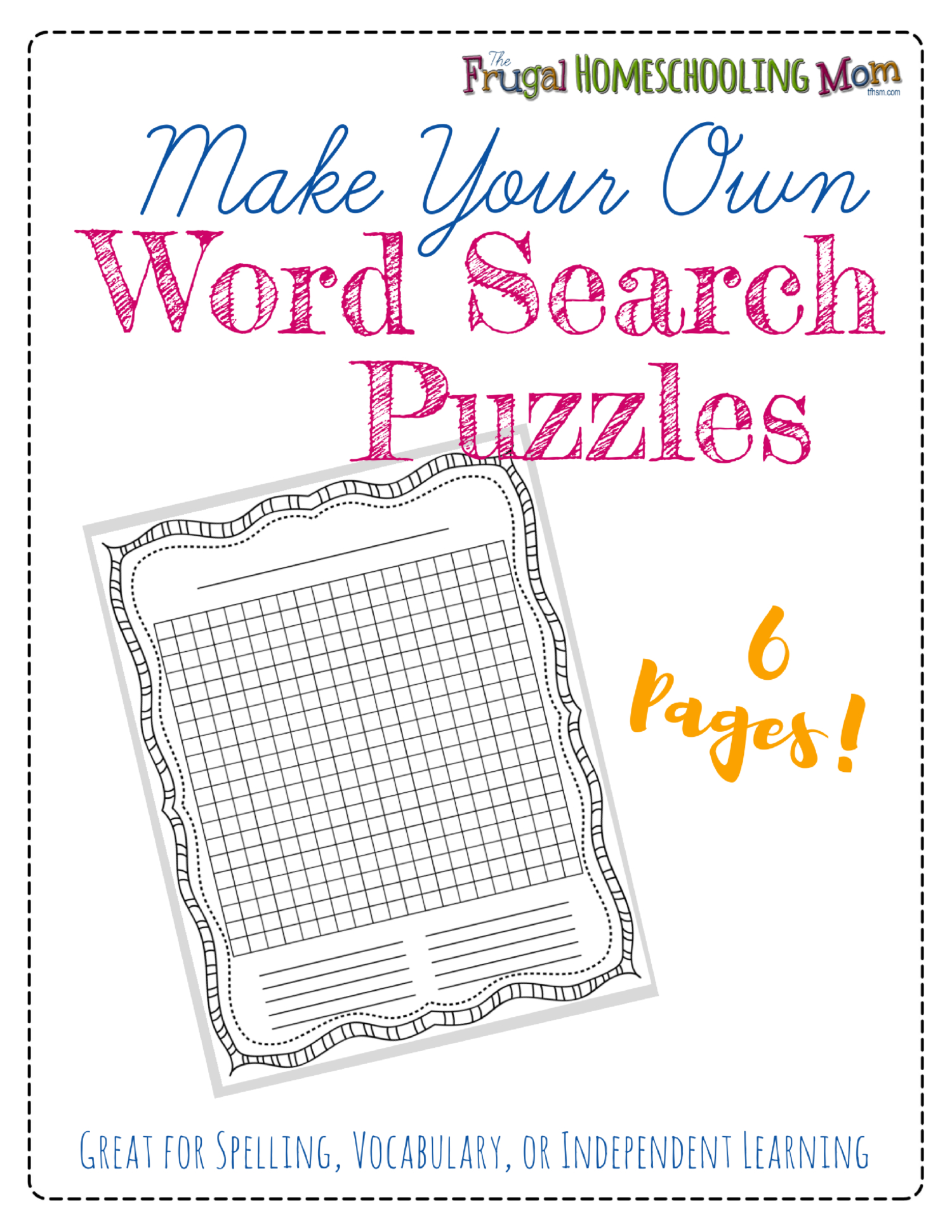 """Free """"make-Your-Own"""" Printable Wordsearch Puzzles – The Frugal - Free Printable Make Your Own Word Search"""