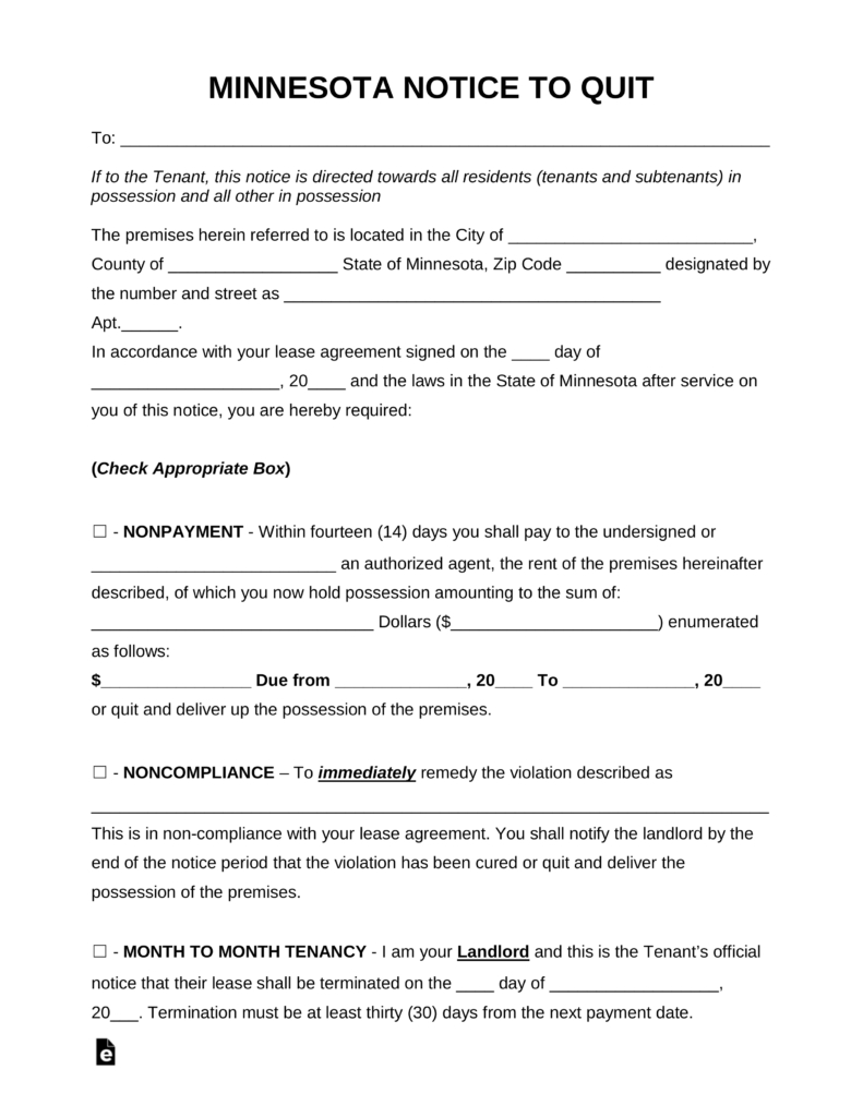 Free Minnesota Eviction Notice Forms | Process And Laws - Pdf | Word - Free Printable Eviction Notice