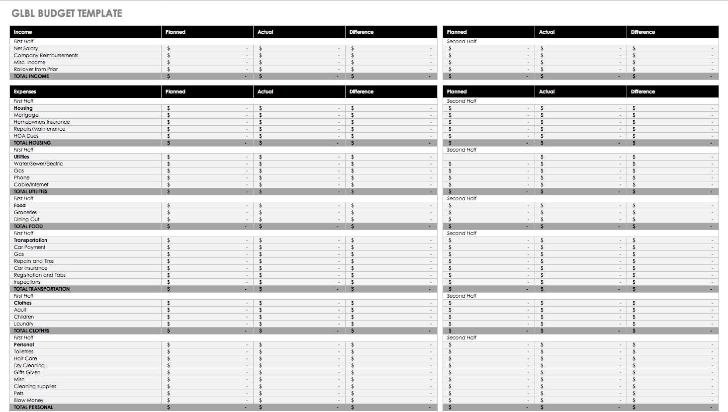 Free Monthly Budget Templates   Smartsheet - Free Printable Monthly Expense Sheet