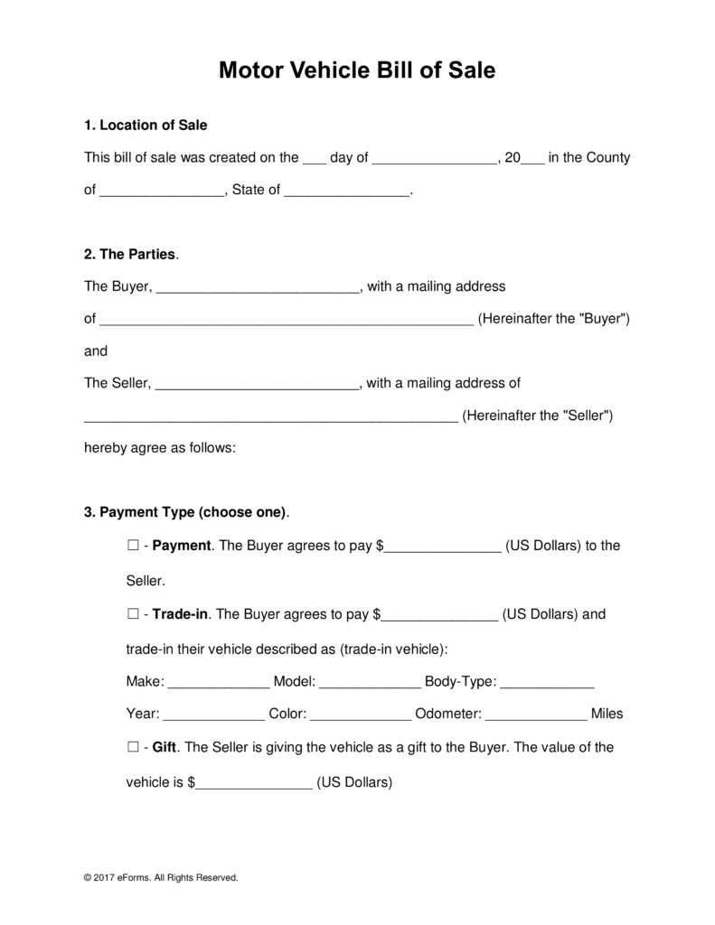 Free Motor Vehicle (Dmv) Bill Of Sale Form - Word   Pdf   Eforms - Free Printable Automobile Bill Of Sale Template
