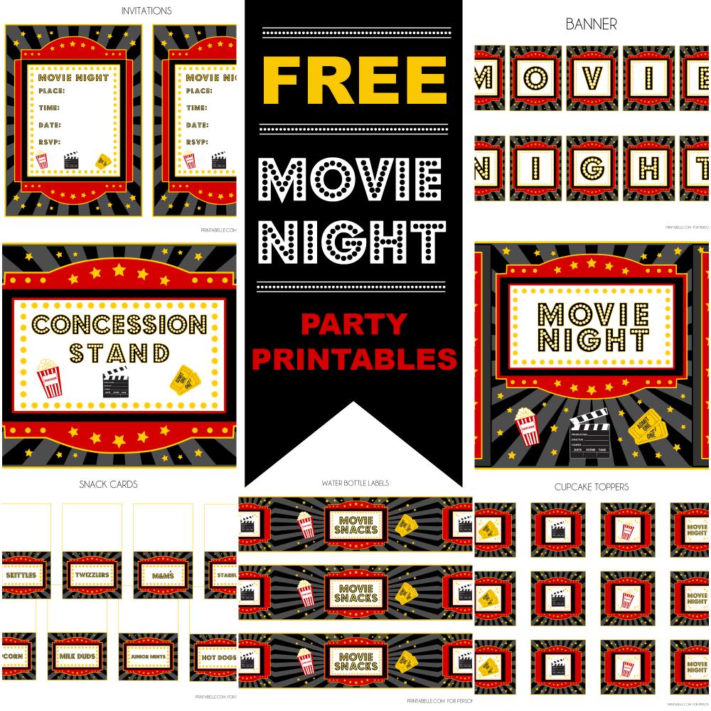 Free Movie Night Party Printablesprintabelle | Catch My Party - Movie Night Birthday Invitations Free Printable