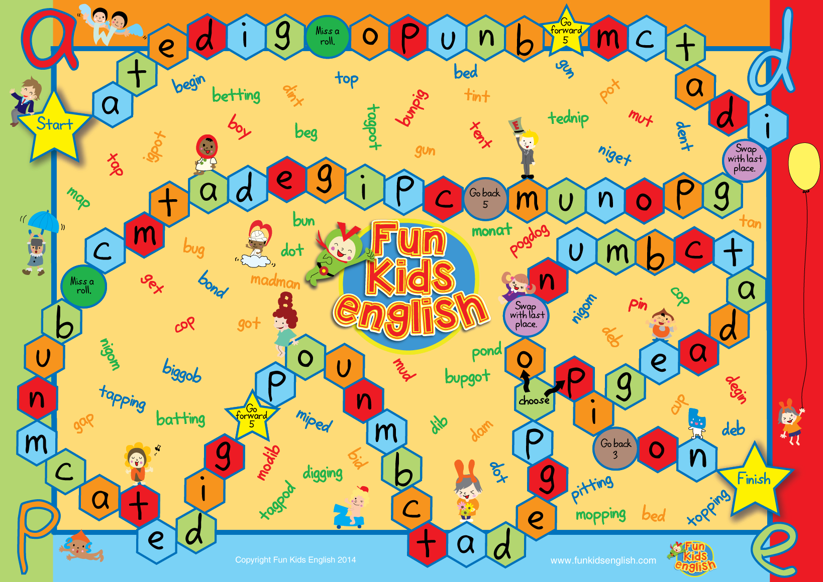 Free Phonics Board Games: Children's Songs, Children's Phonics - Free Printable Alphabet Board Games