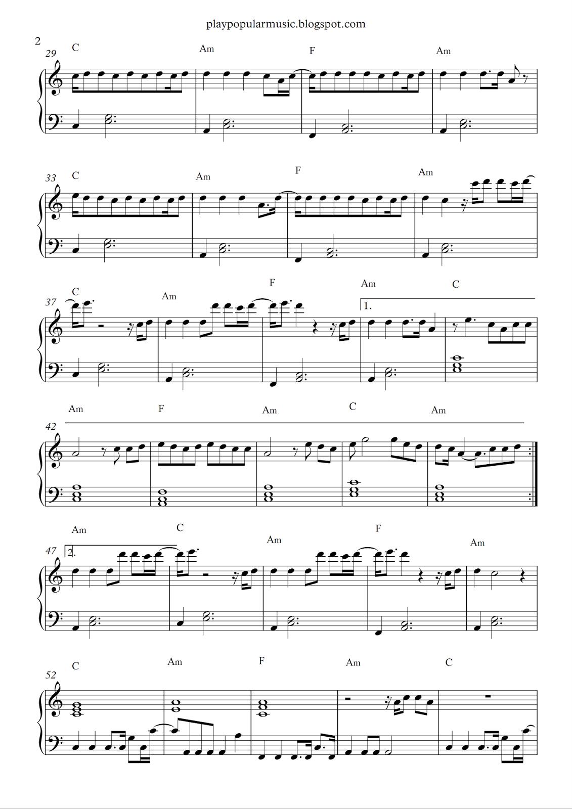 Free Piano Sheet Music: Can't Stop The Feeling! - Justin Timberlake - Free Printable Music Sheets Pdf