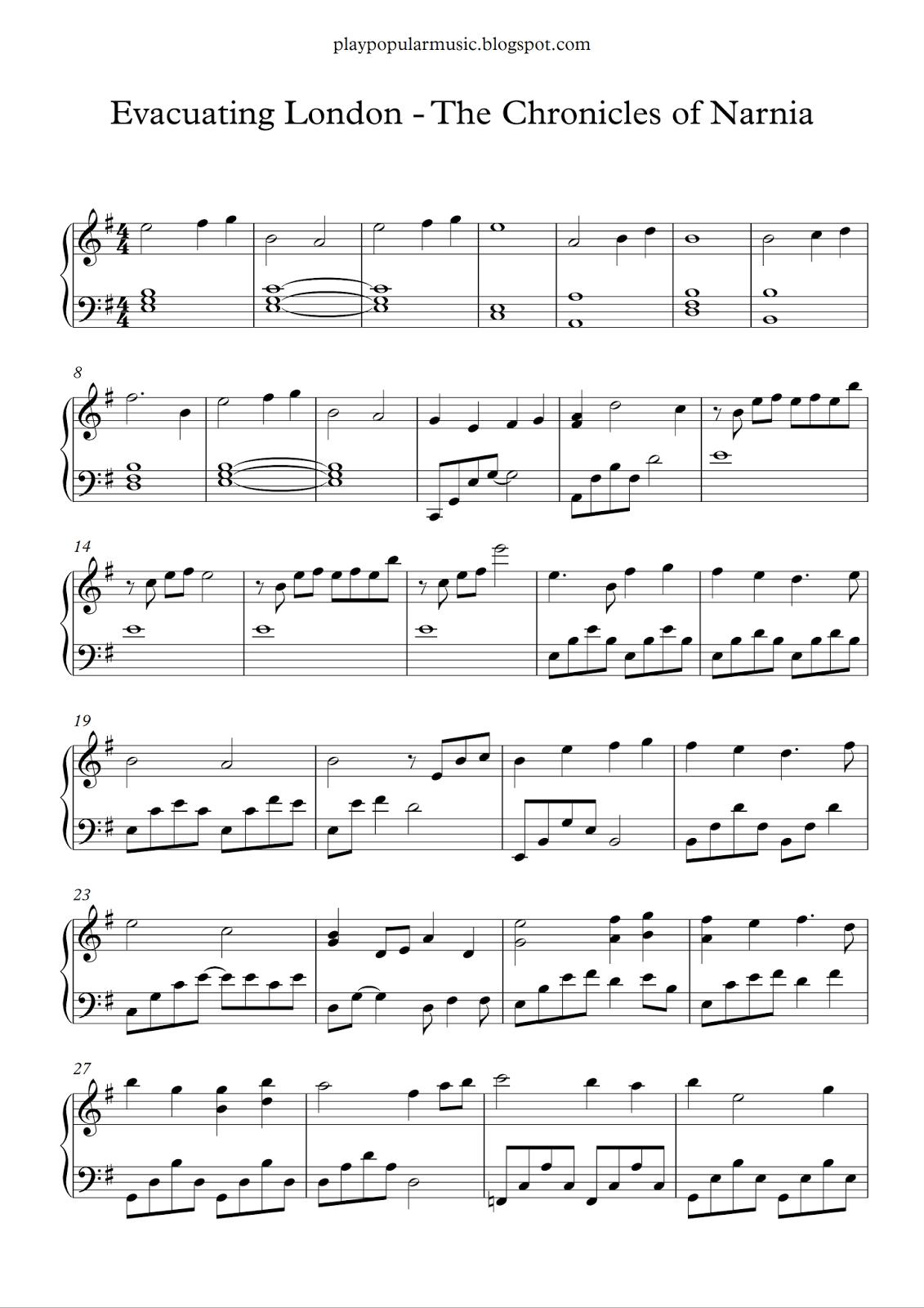 Free Piano Sheet Music: Evacuating London - The Chronicles Of Narnia - Free Printable Music Sheets Pdf