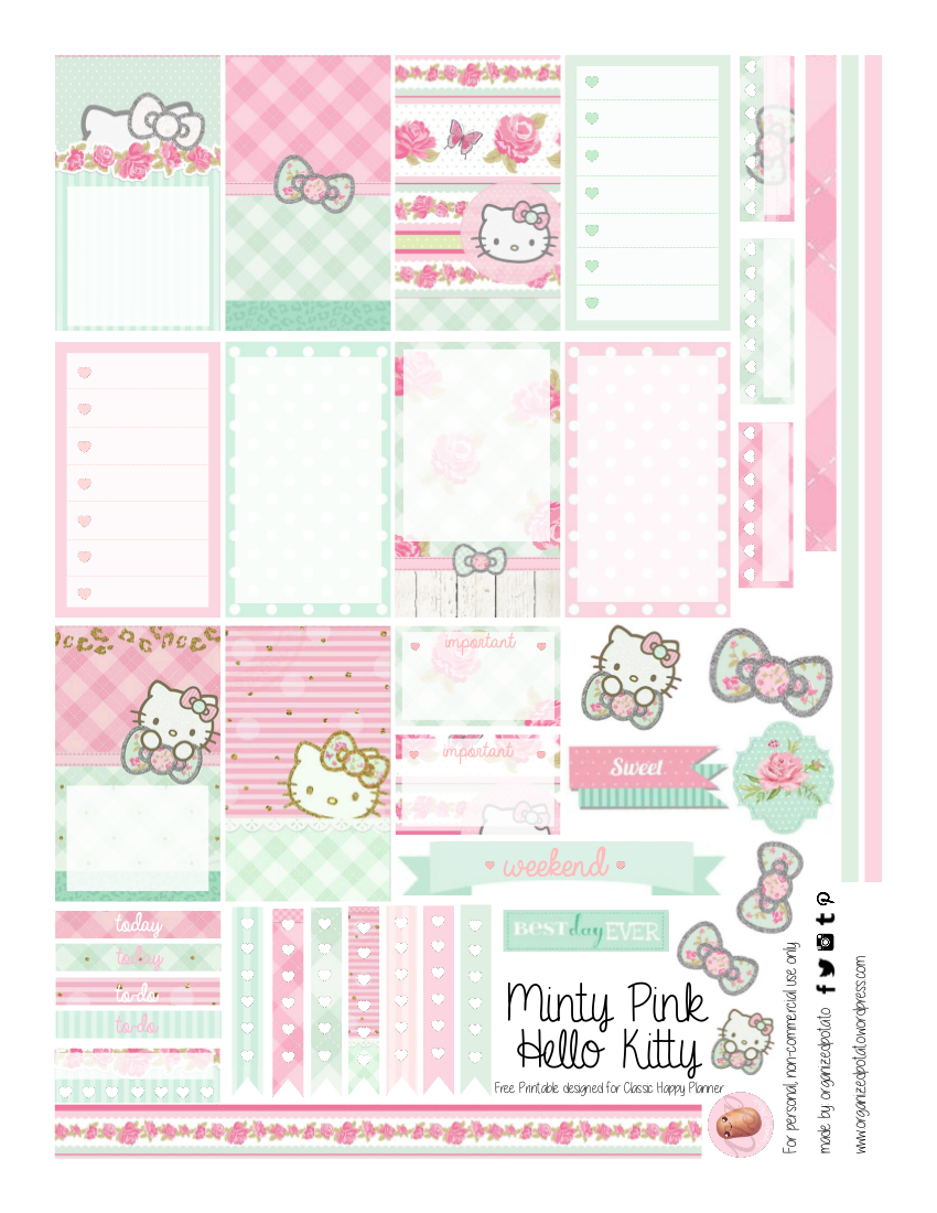 Free Planner Printable: Mint Green & Pink Hello Kitty | Hello Kitty - Hello Kitty Labels Printable Free