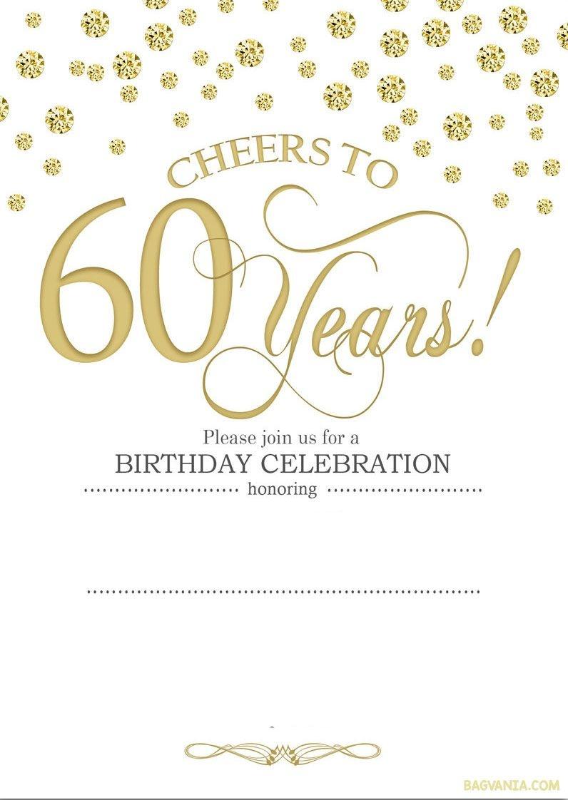 Free Printable 60Th Birthday | Kellies 50Th Bday Ideas | 60Th - Free Printable 60Th Wedding Anniversary Invitations